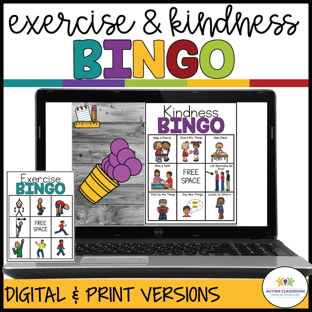 Kindness & Exercise BINGO for Distance Learning and Classroom Engagement in Special Education - Autism Classroom Resources