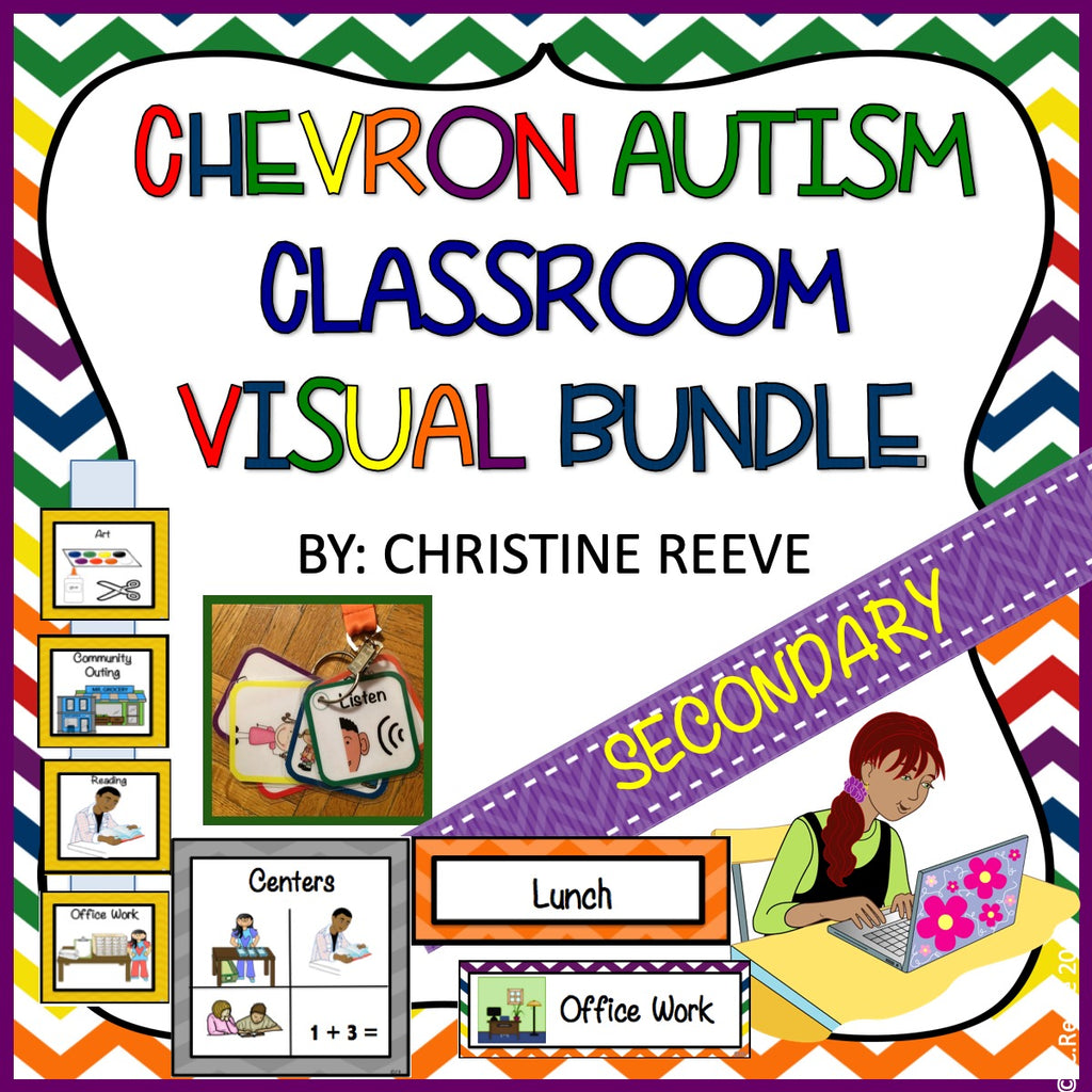 Chevron Middle & High School Classroom Visual Bundle for Autism and Special Education Classrooms