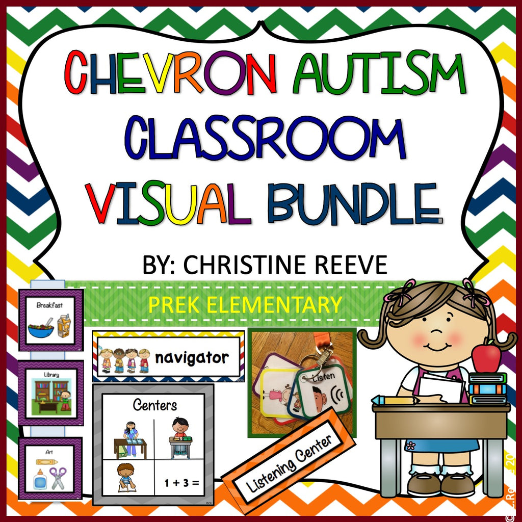 Chevron Pre-K - Elementary Classroom Visual Bundle for Autism and Special Education Classrooms