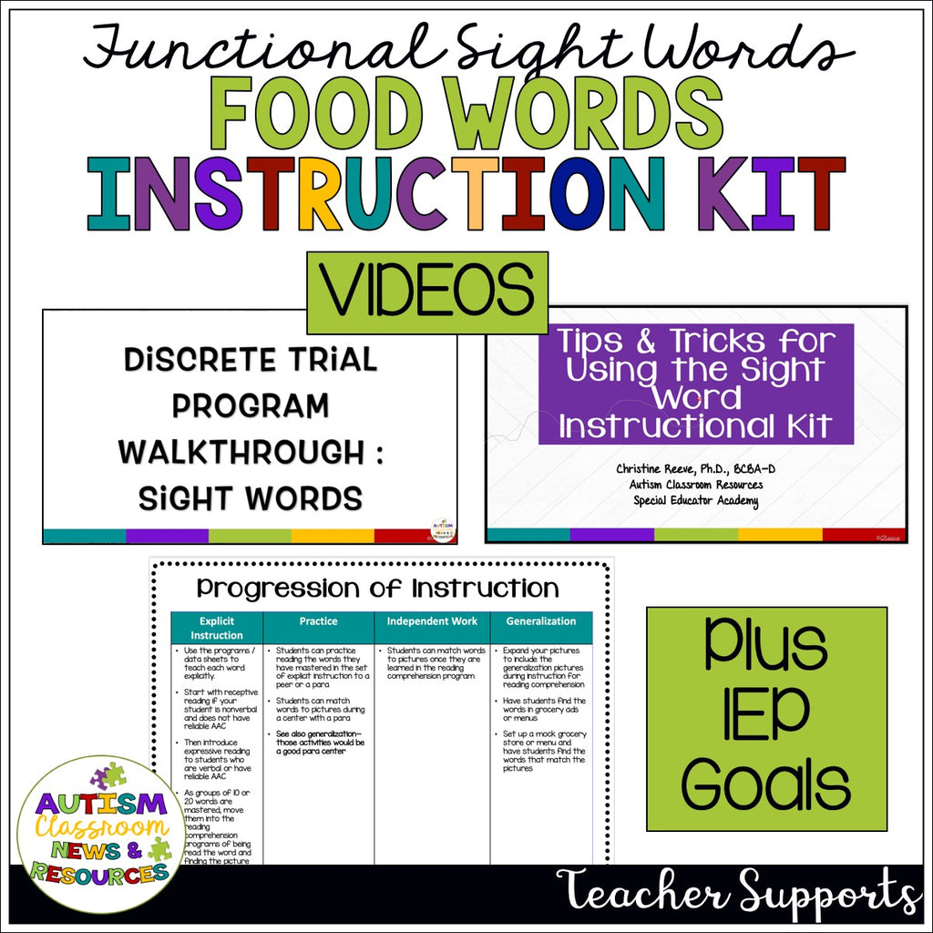 Reading Functional Sight Words Discrete Trial Instruction Tool Kit: Food Words