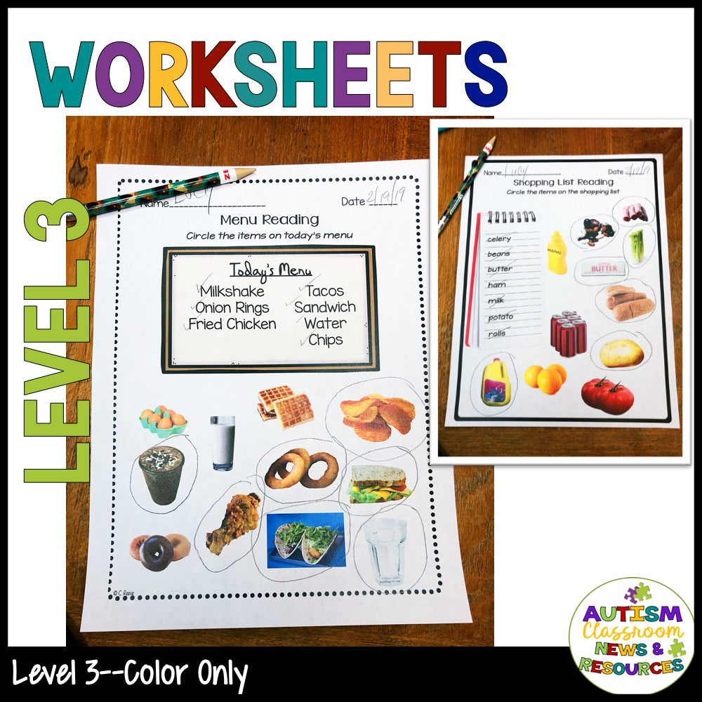 Functional Sight Words Reading Comprehension Worksheets: Food Words