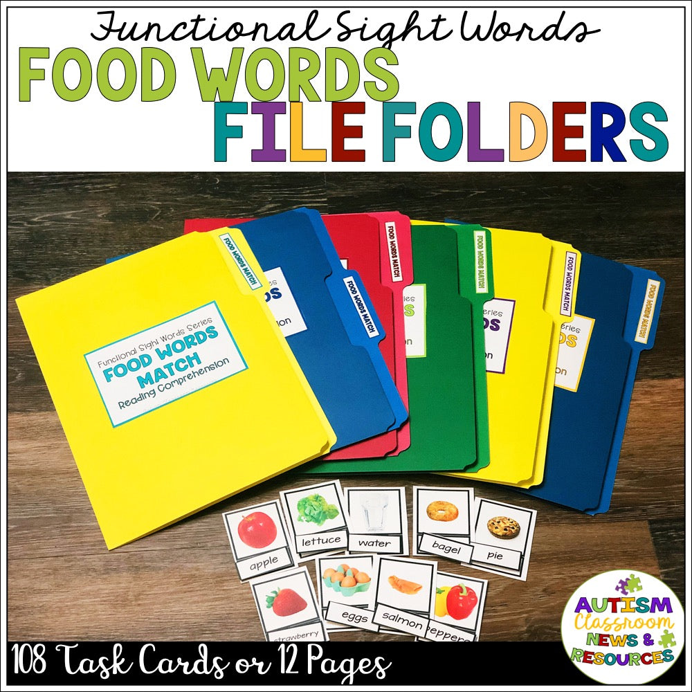 Functional Sight Word Reading Comprehension File Folders: Food Words