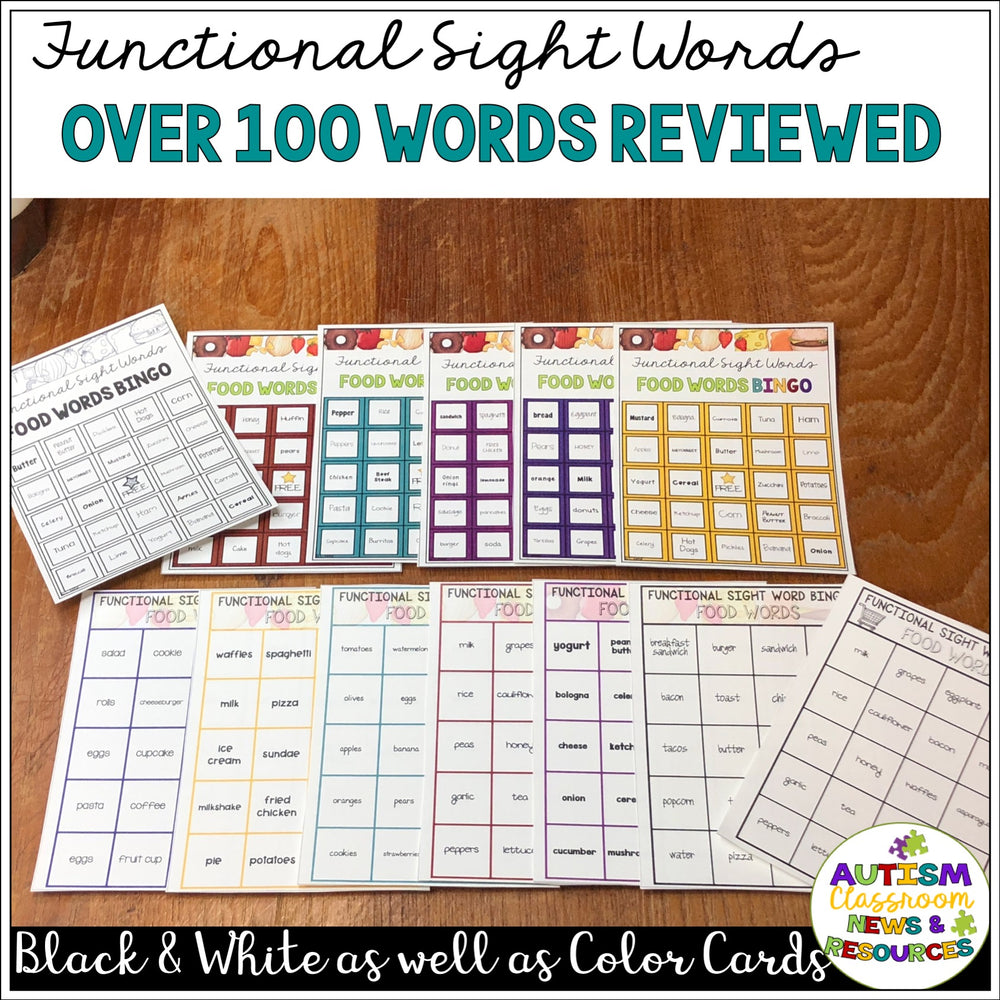 Reading Functional Sight Words BINGO: Food Words for Life Skills
