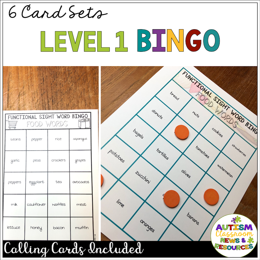 Reading Functional Sight Words BINGO: Food Words for Life Skills - Autism Classroom Resources