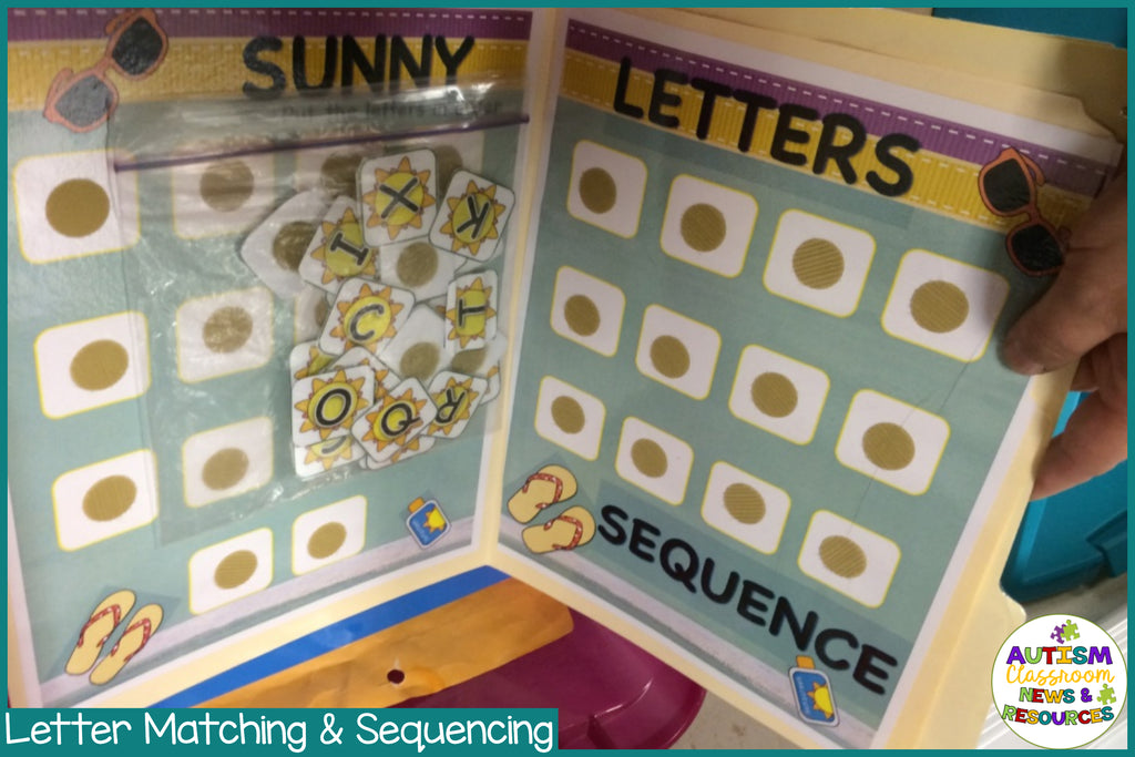 Basic Matching File Folders: Summer Sunny Letters for Early Childhood and Special Education