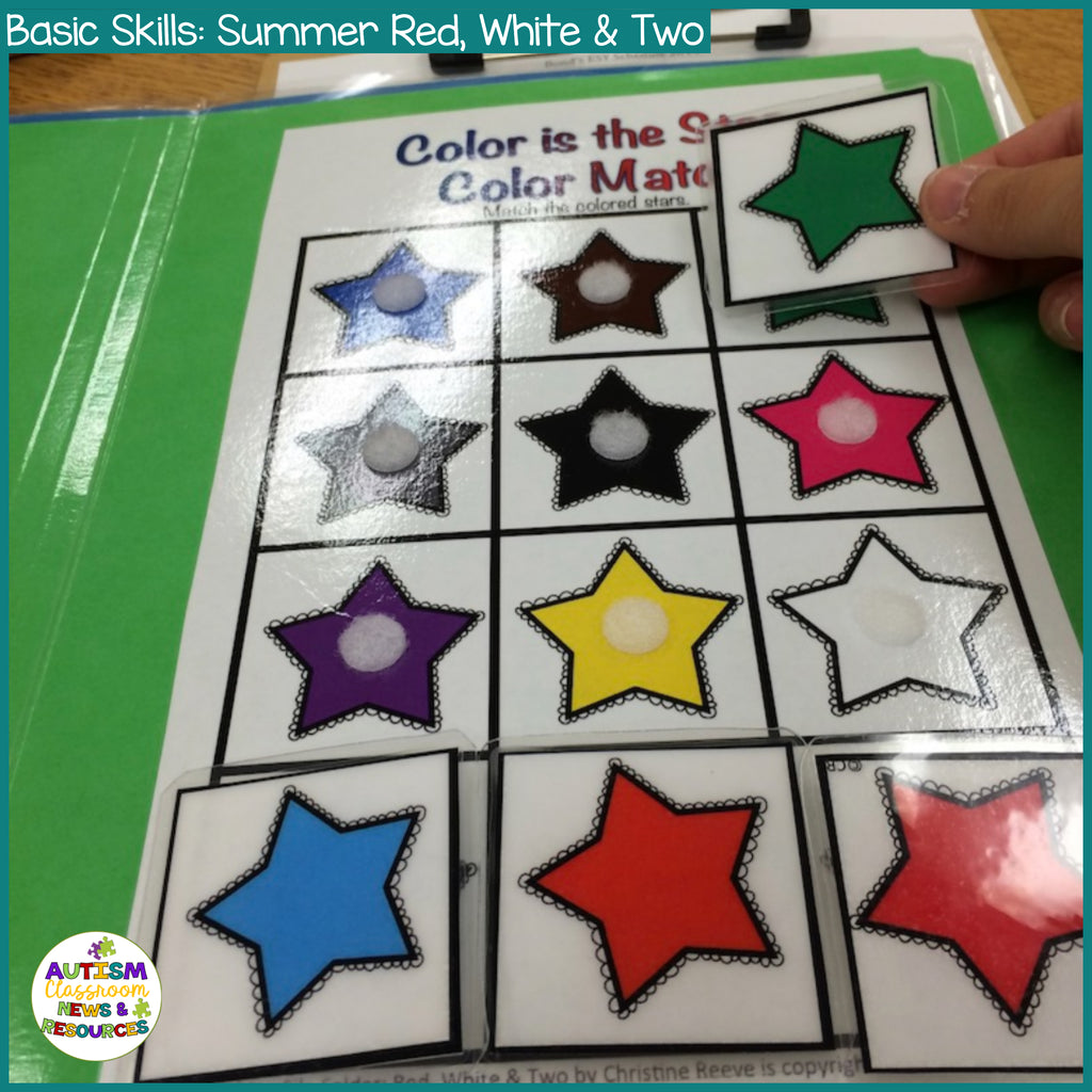 Basic Skills File Folders: Red, White, & Two Stars Number Skills