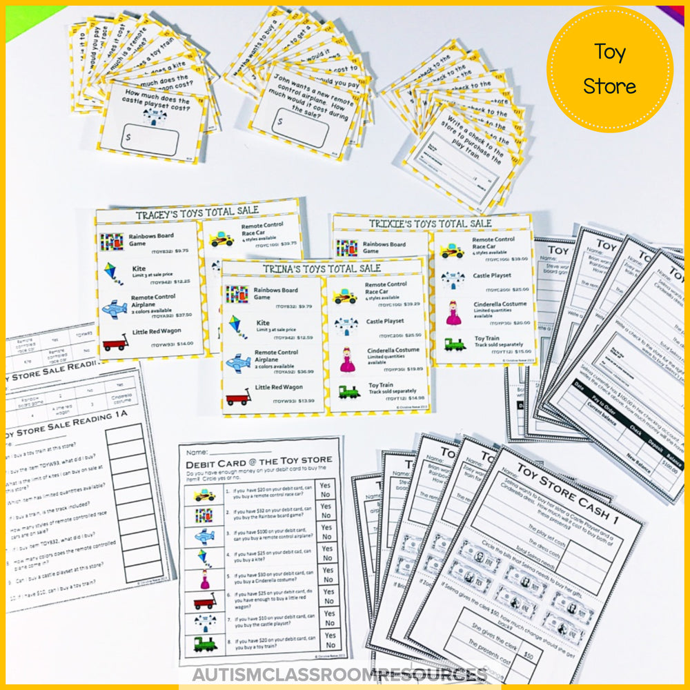 Money Skills Toy Shopping: Functional Literacy and Math Skills - Autism Classroom Resources