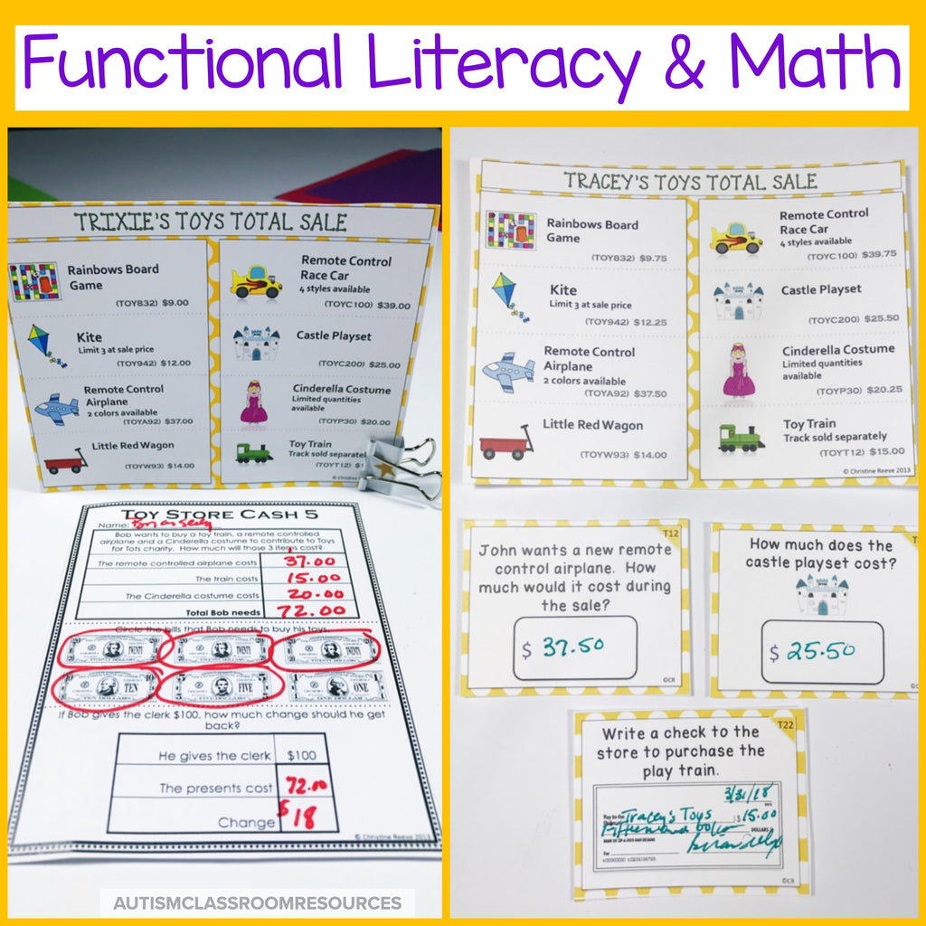Money Skills Toy Shopping: Functional Literacy and Math Skills