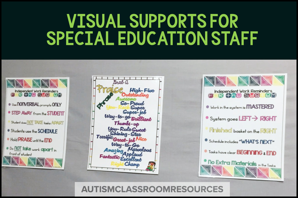 Visual Reminders for Special Education Classroom Staff*Autism*LifeSkills