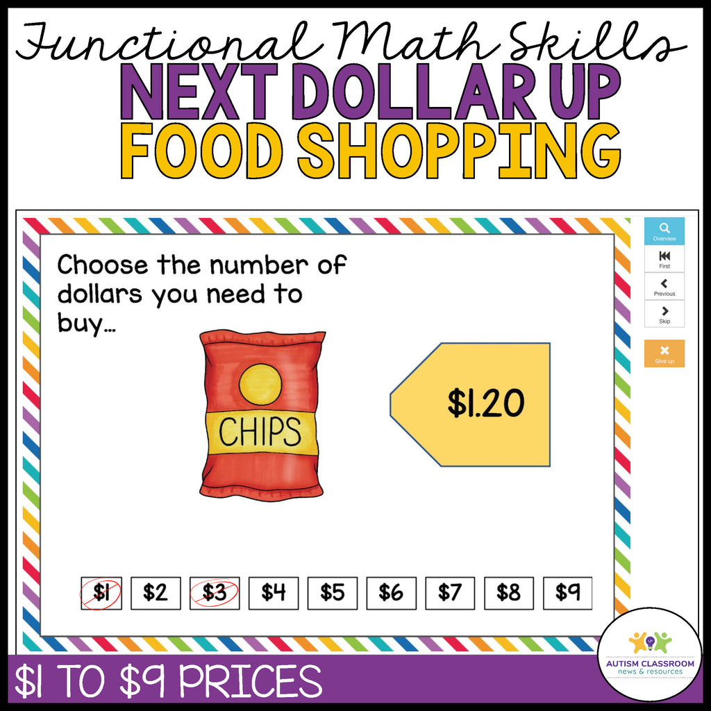 Next Dollar Up Digital Task Cards: Boom Cards with Food and Prices 0-$9 - Autism Classroom Resources
