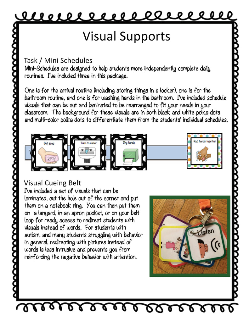 Polka Dot Middle & High School Visuals for Special Education and Autism Classrooms - Autism Classroom Resources