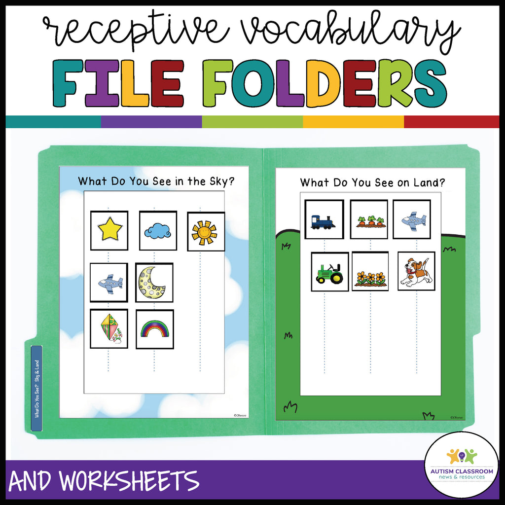 Sorting Receptive Vocabulary by Category with File Folders and Worksheets - Autism Classroom Resources