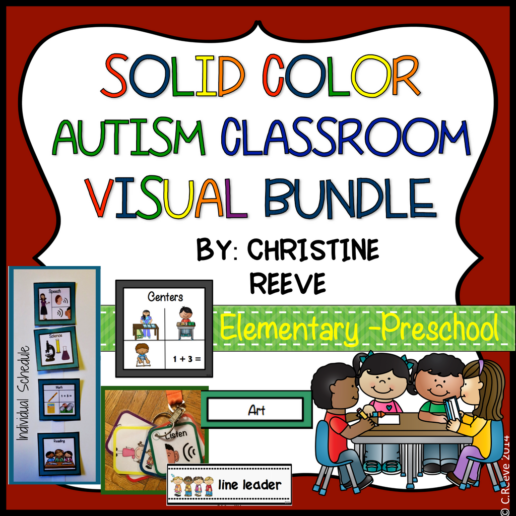 Pre-K - Elementary Classroom Visual Set for Autism and Special Education Classroom in Solid Colors - Autism Classroom Resources
