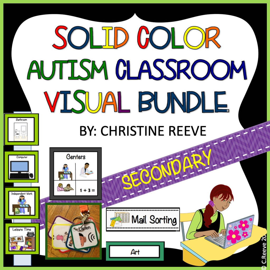 Middle & High School Classroom Visual Set for Autism and Special Education in Solid Colors