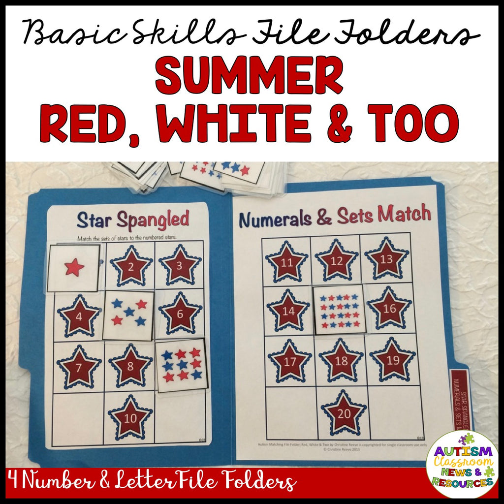 Basic Skills File Folders: Red, White, & Two Stars Number Skills - Autism Classroom Resources