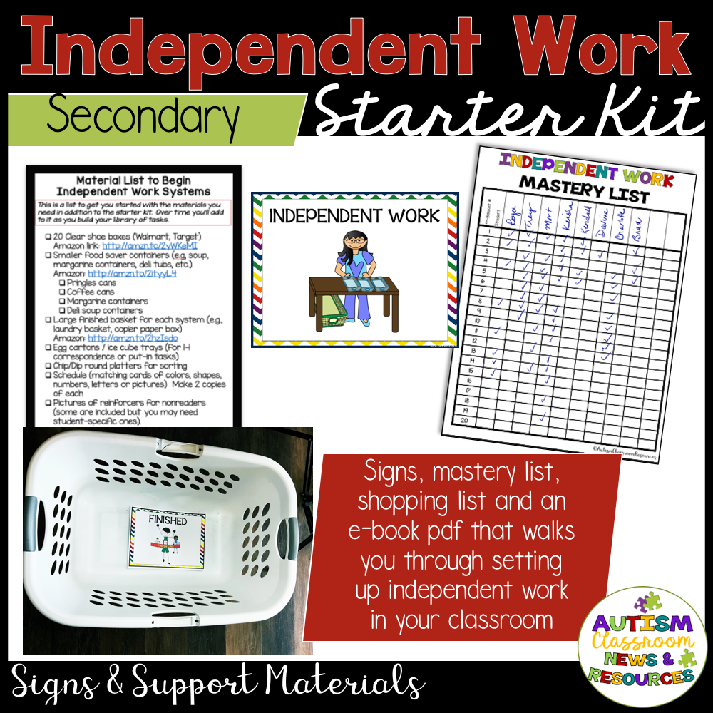 Independent Work Starter Kit for Secondary Special Education Classrooms