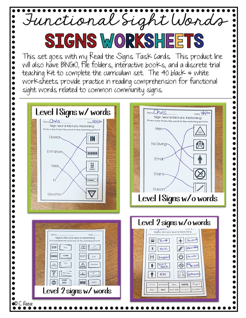 Functional Literacy Worksheets: Reading Comprehension of Common Signs - Autism Classroom Resources