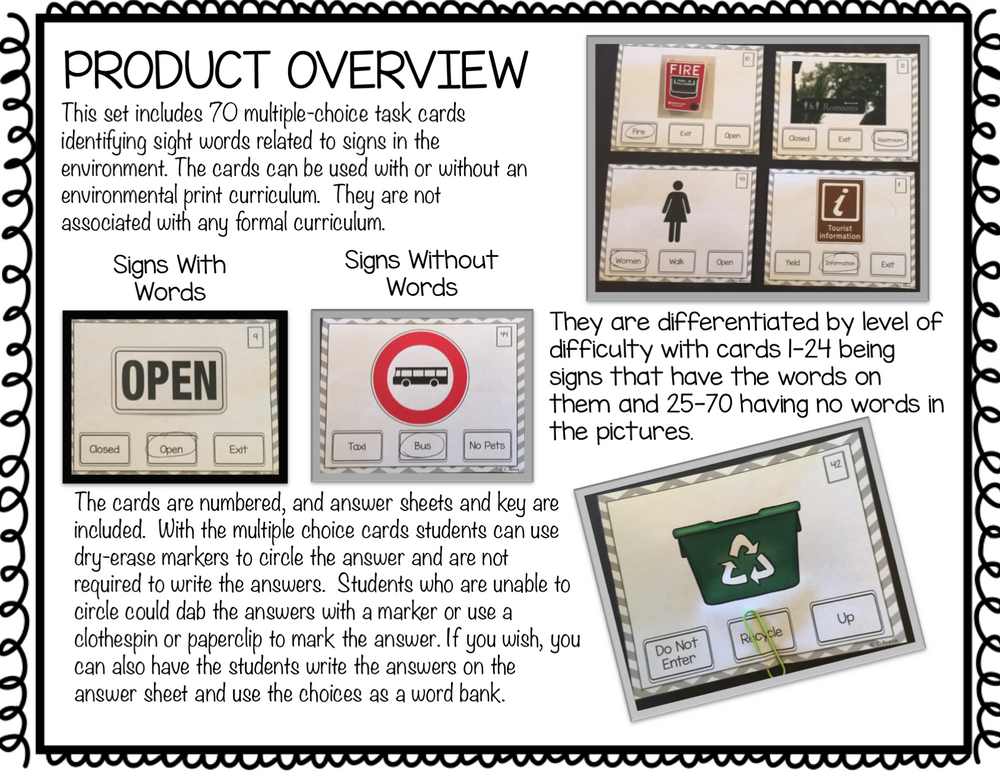 Common Signs Functional Reading Task Cards for Autism and Special Education Programs