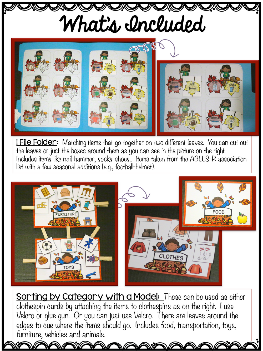 Autism Receptive Vocabulary Activities for Fall: Feature Function Class - Autism Classroom Resources