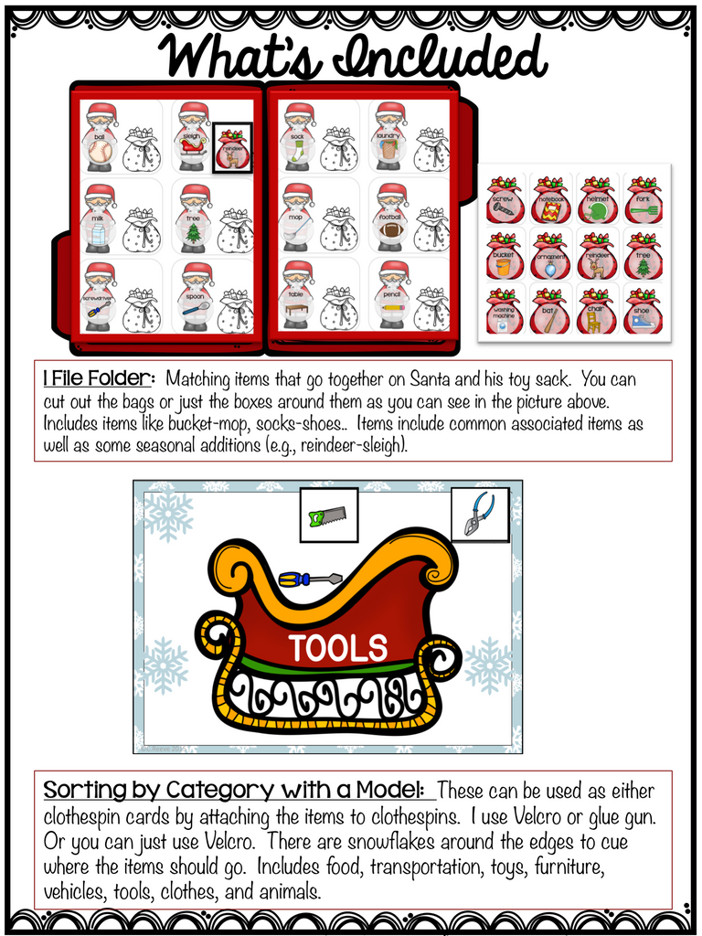 Autism Receptive Vocabulary Activities for Christmas: Feature Function Class - Autism Classroom Resources