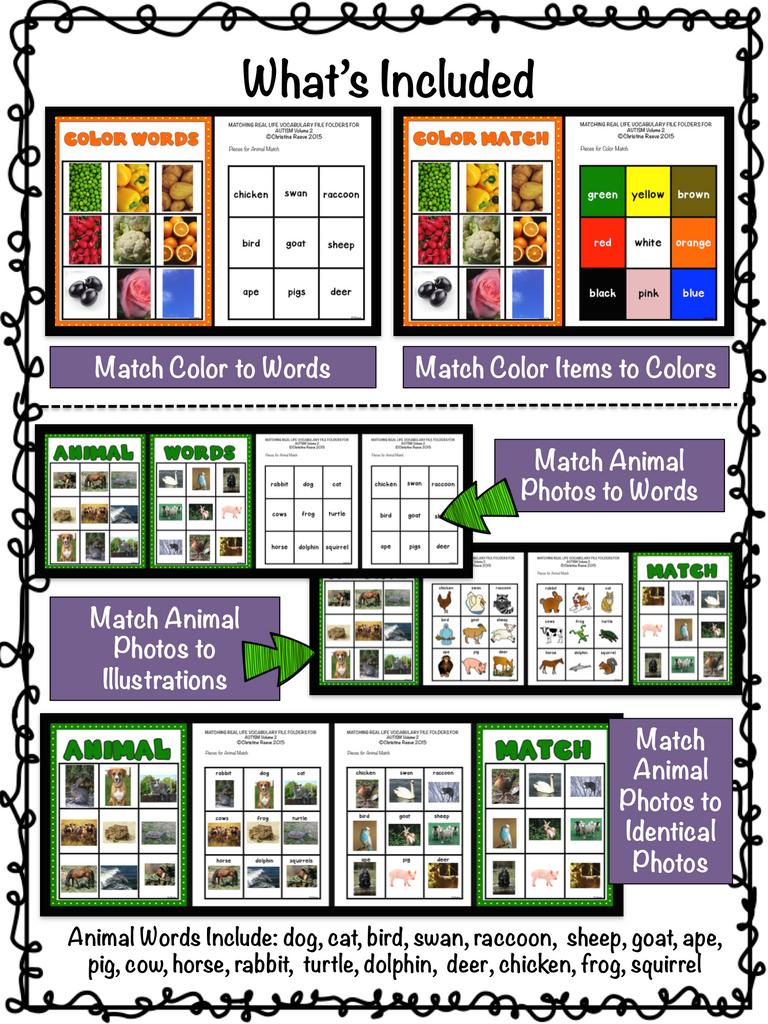 Real Life Photographic Vocabulary Matching File Folders 2 for Special Education With Matching Pictures and Words
