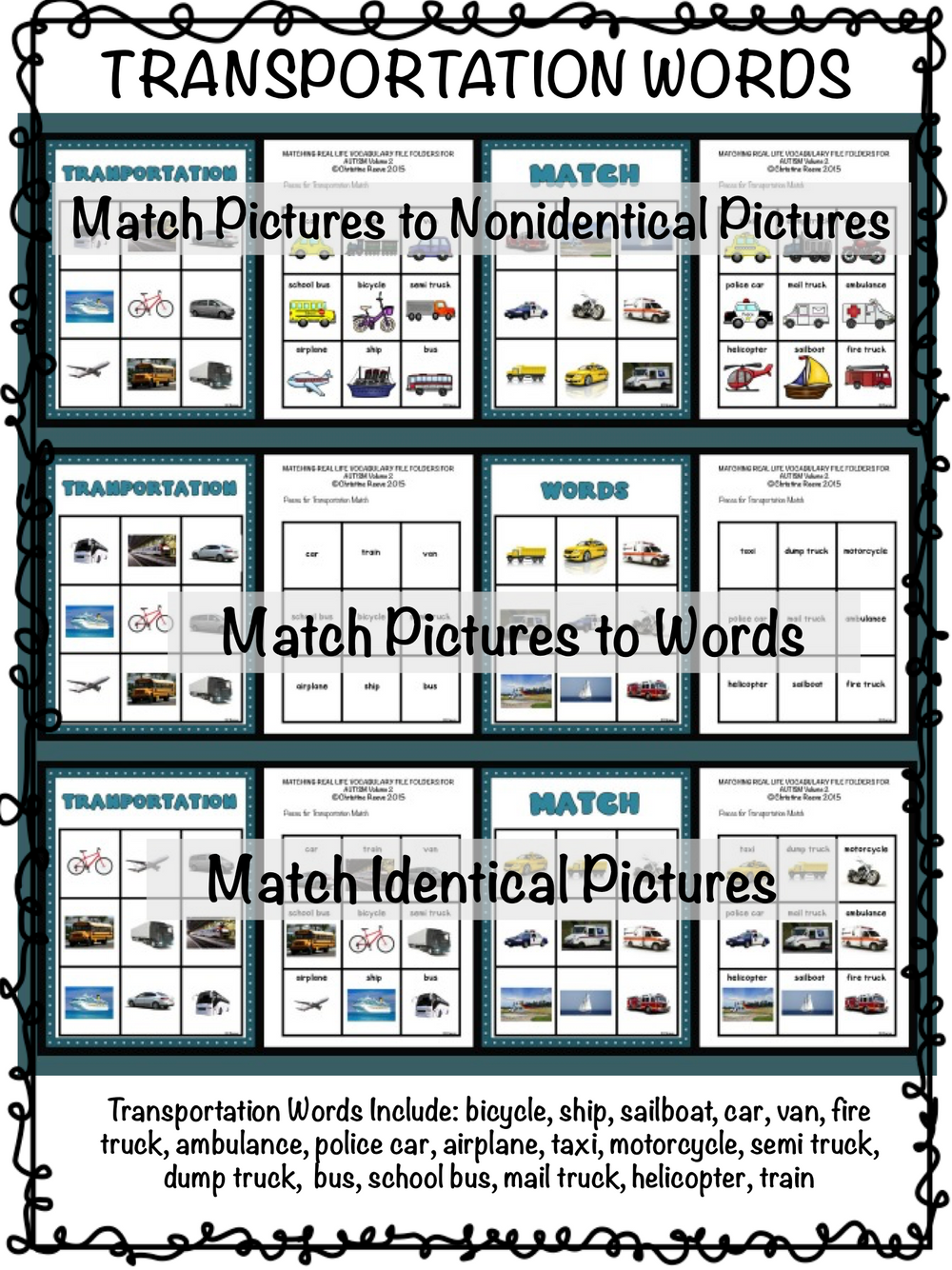 Real Life Photographic Vocabulary Matching File Folders 2 for Special Education With Matching Pictures and Words - Autism Classroom Resources