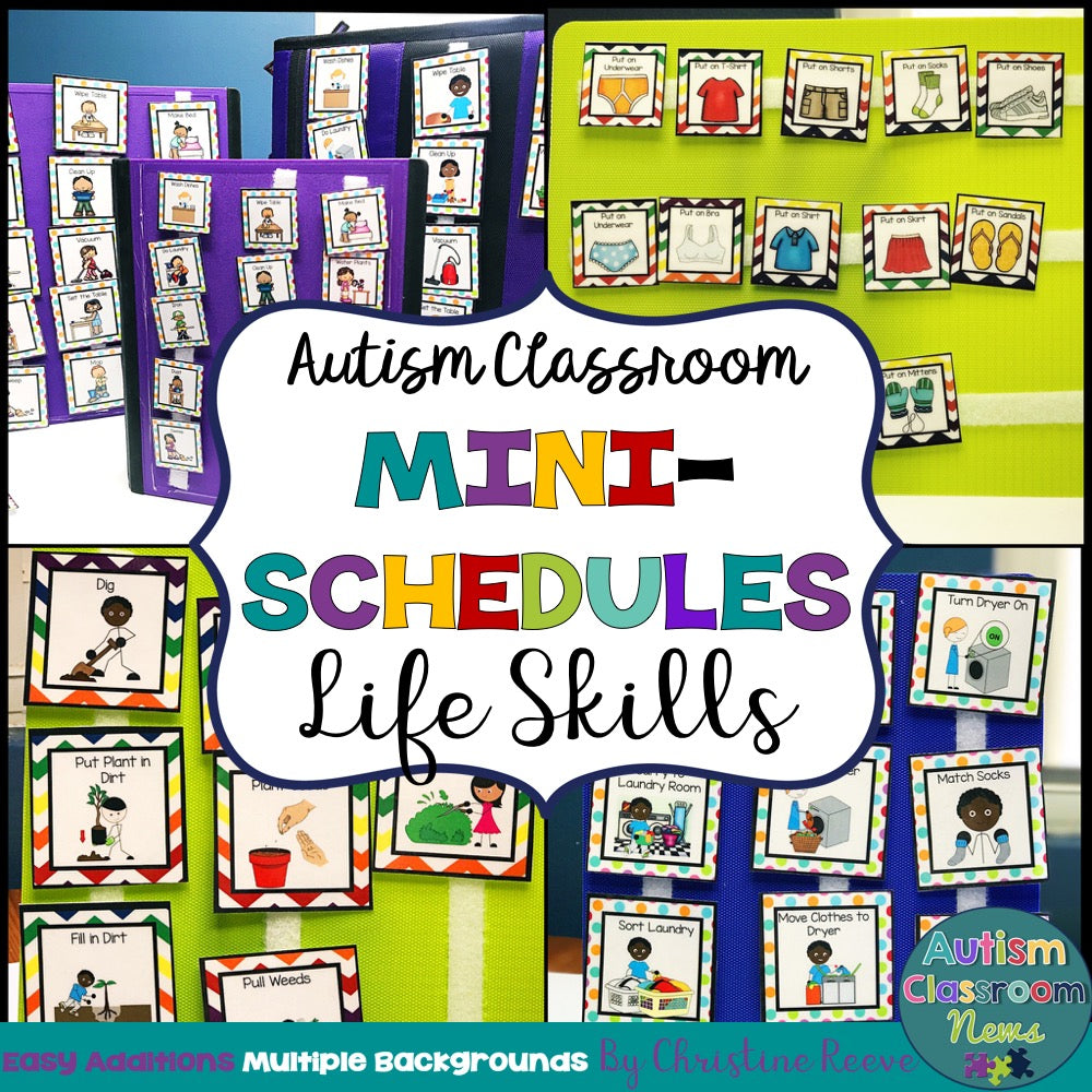 Life Skills Mini-Schedules for Special Education and Autism Classrooms - Autism Classroom Resources