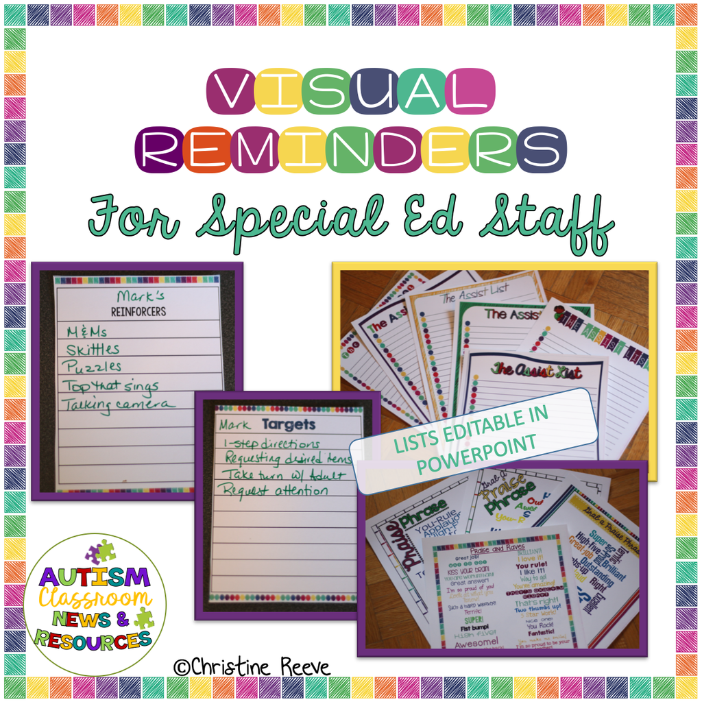 Visual Reminders for Special Education Classroom Staff*Autism*LifeSkills - Autism Classroom Resources