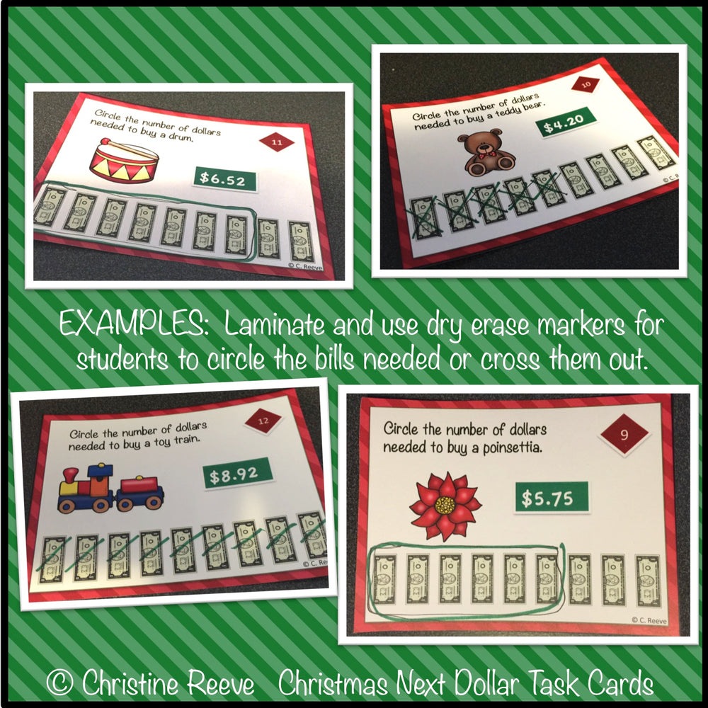 Christmas Next Dollar Up Task Cards (Special Ed.; Life Skills) - Autism Classroom Resources