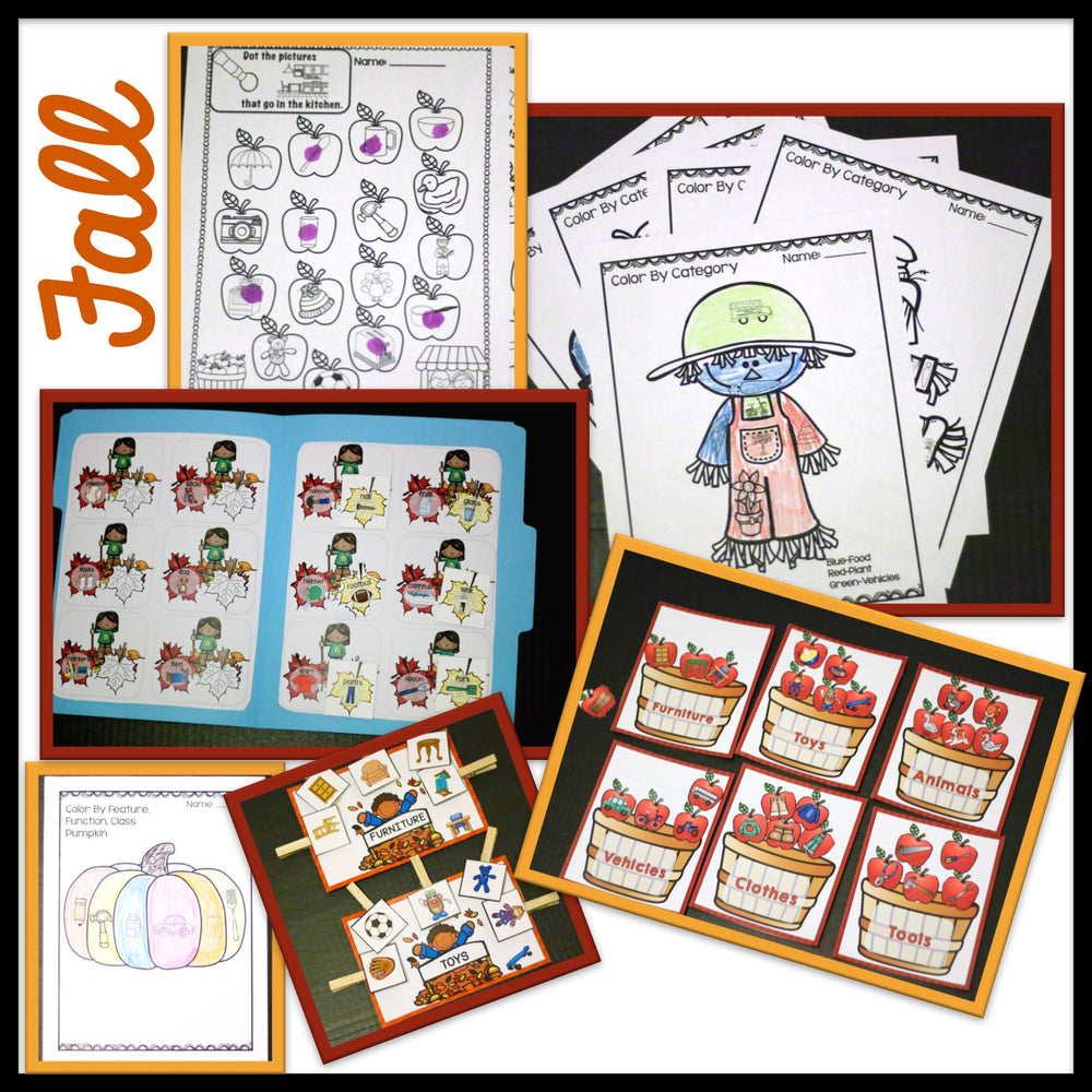 BUNDLE Receptive Vocabulary Activities for 4 Seasons of Practicing Feature, Function & Class (RFFC) - Autism Classroom Resources