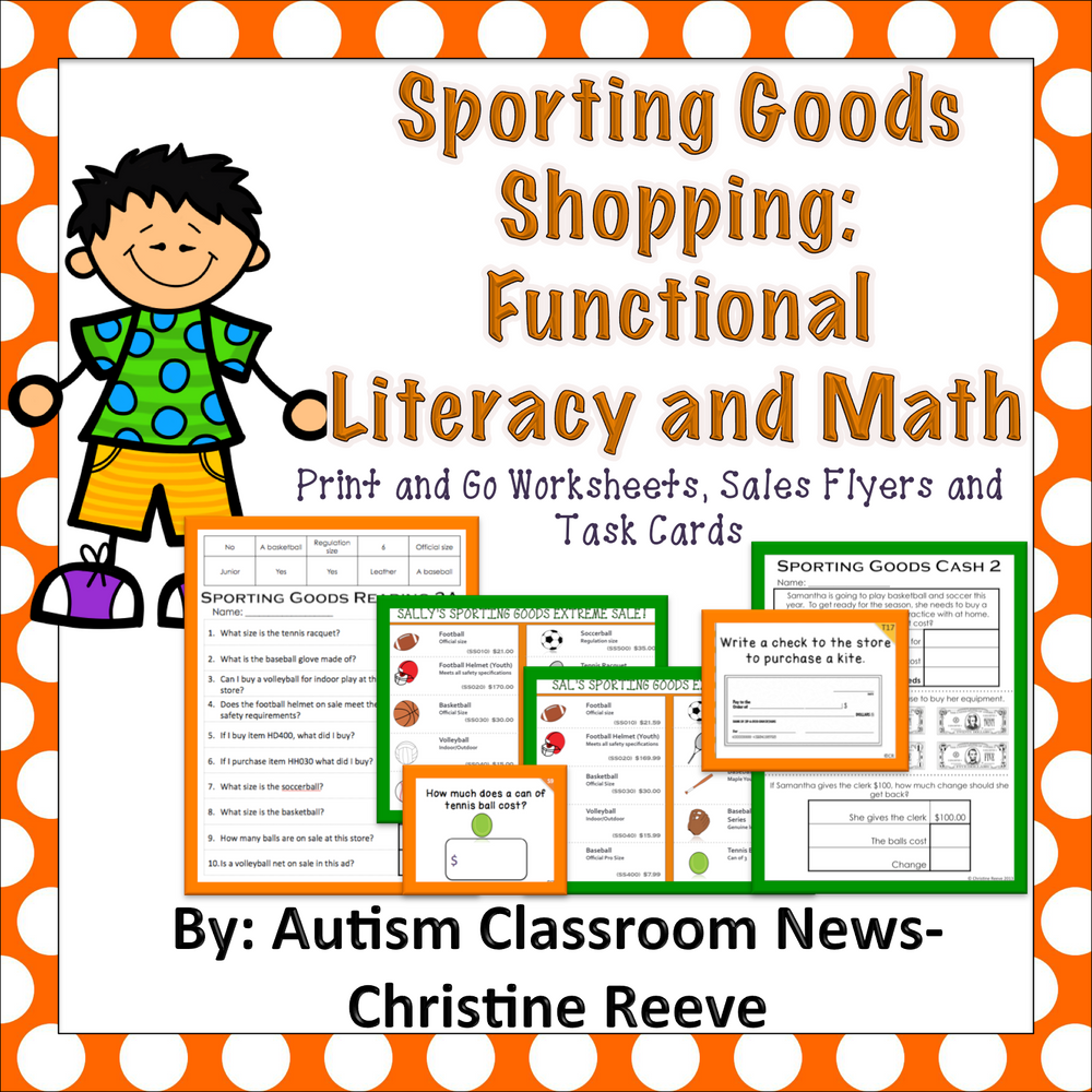 Sporting Goods Shopping: Functional Literacy and Math Skills (Special Education) - Autism Classroom Resources