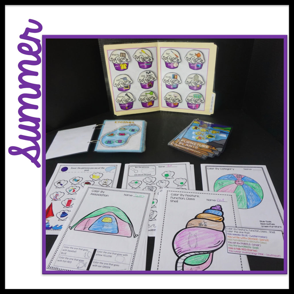 BUNDLE Receptive Vocabulary Activities for 4 Seasons of Practicing Feature, Function & Class (RFFC)