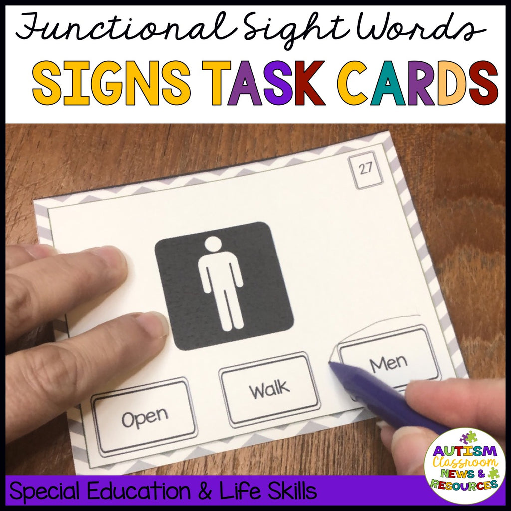 Functional Sight Words Signs Task Cards. Picture of a sign with a multiple choice words. Special Education and Life Skills Autism Classroom Resources