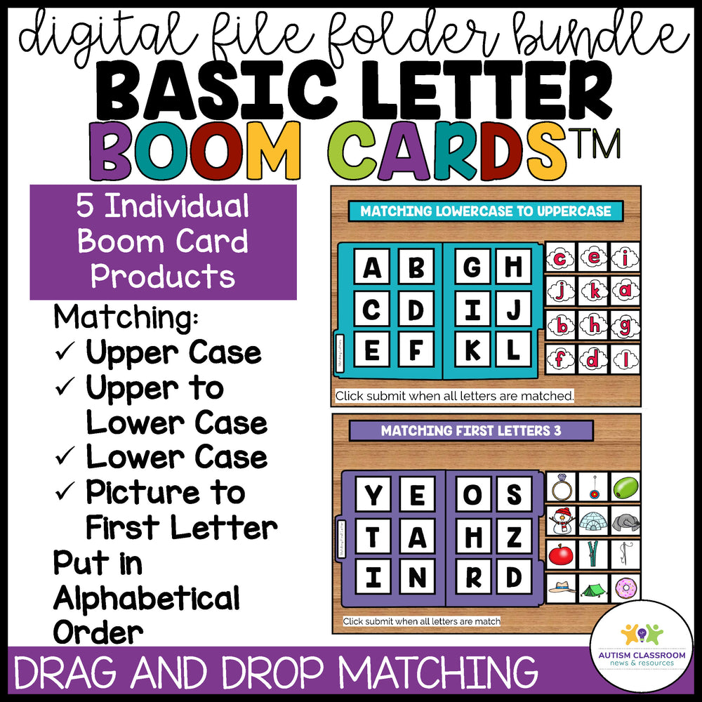 Simple Letter Digital File Folders Using Boom Cards - Autism Classroom Resources