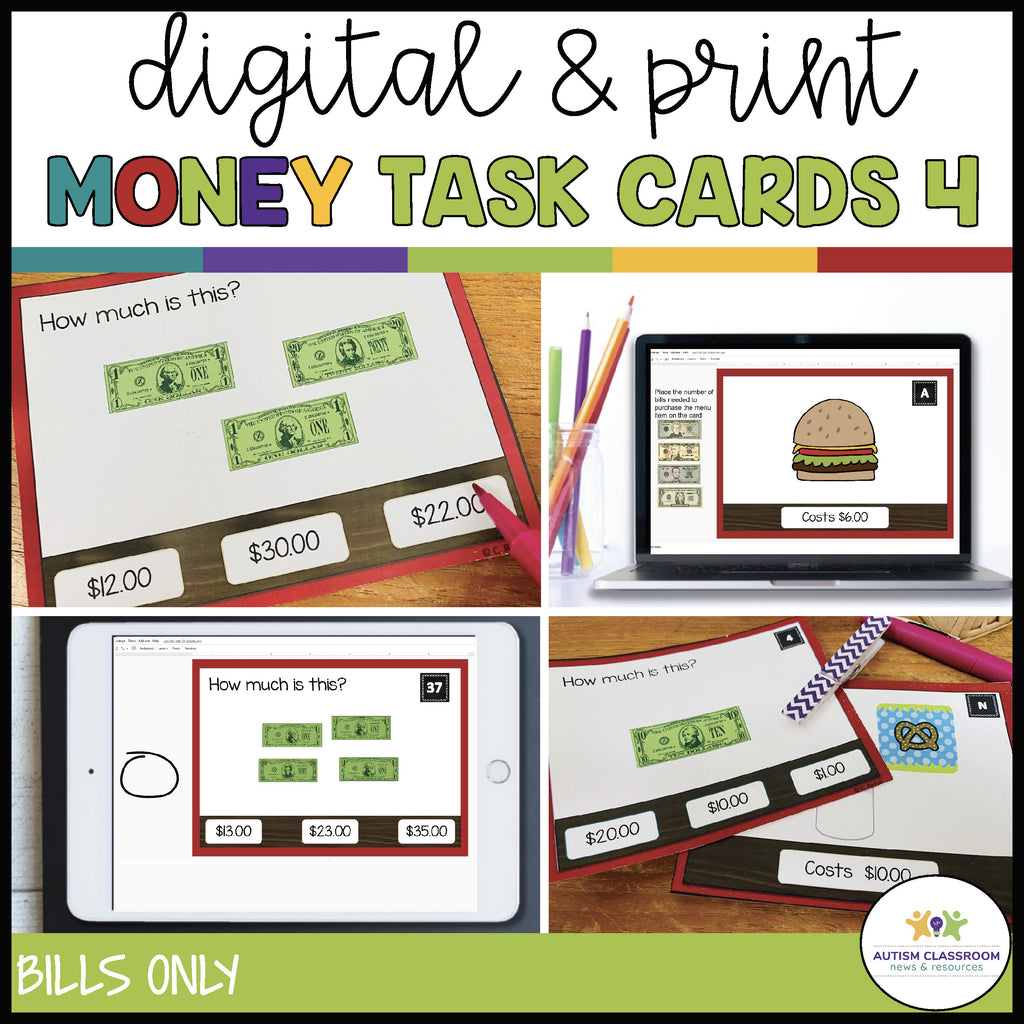 Restaurant-Themed Money Task Cards Vol. 4 Bills Only: Digital & Print Versions Included - Autism Classroom Resources