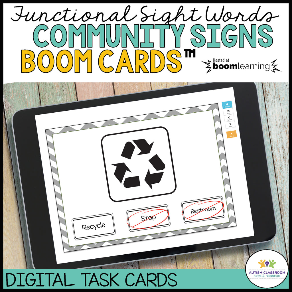 BOOM™️ Cards for Functional Literacy: Community Signs Digital Task Cards - Autism Classroom Resources