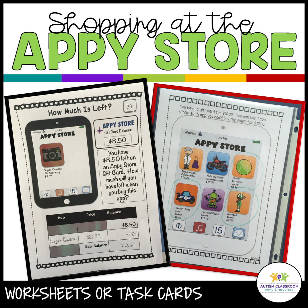 Shopping at the Appy Store: Money Worksheets-Task Cards for Special Education - Autism Classroom Resources