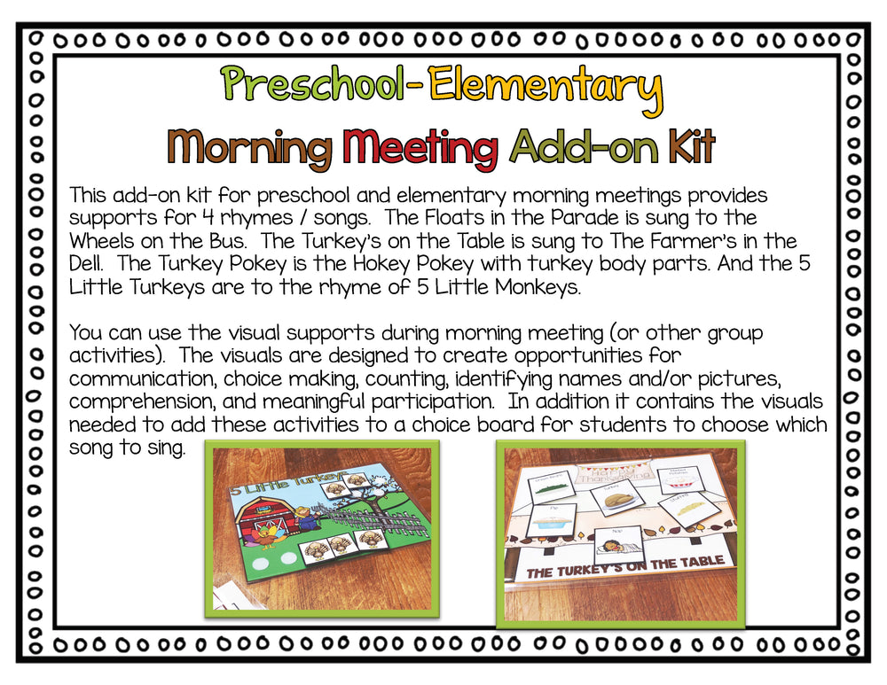 Morning Circle Thanksgiving Add-On Kit for Preschool and Elementary Special Education - Autism Classroom Resources