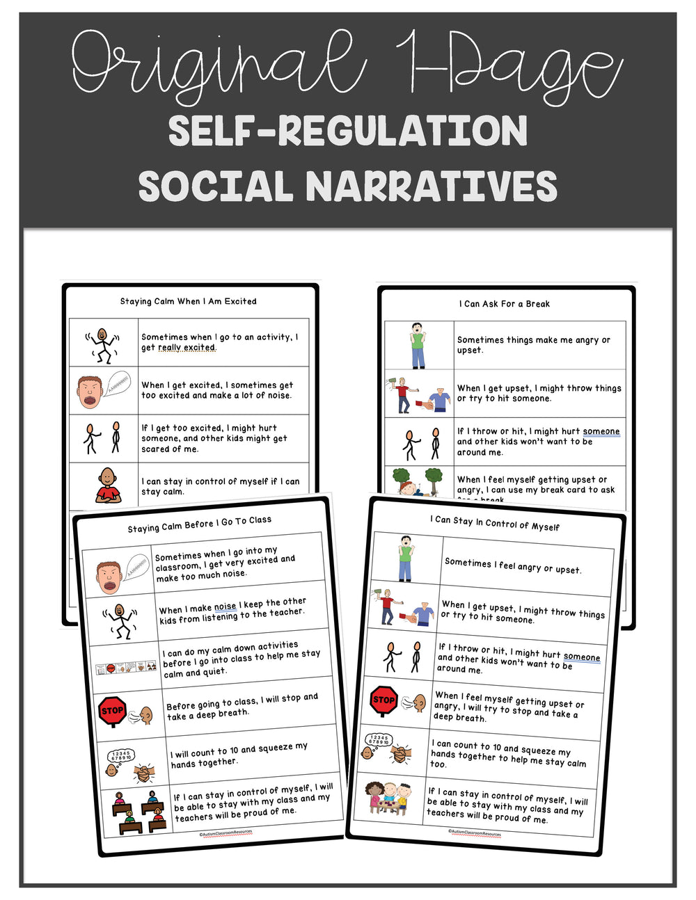 My Calm Down Tools for Self-Regulation: Social Narratives and Visual Supports for Autism & Special Ed - Autism Classroom Resources