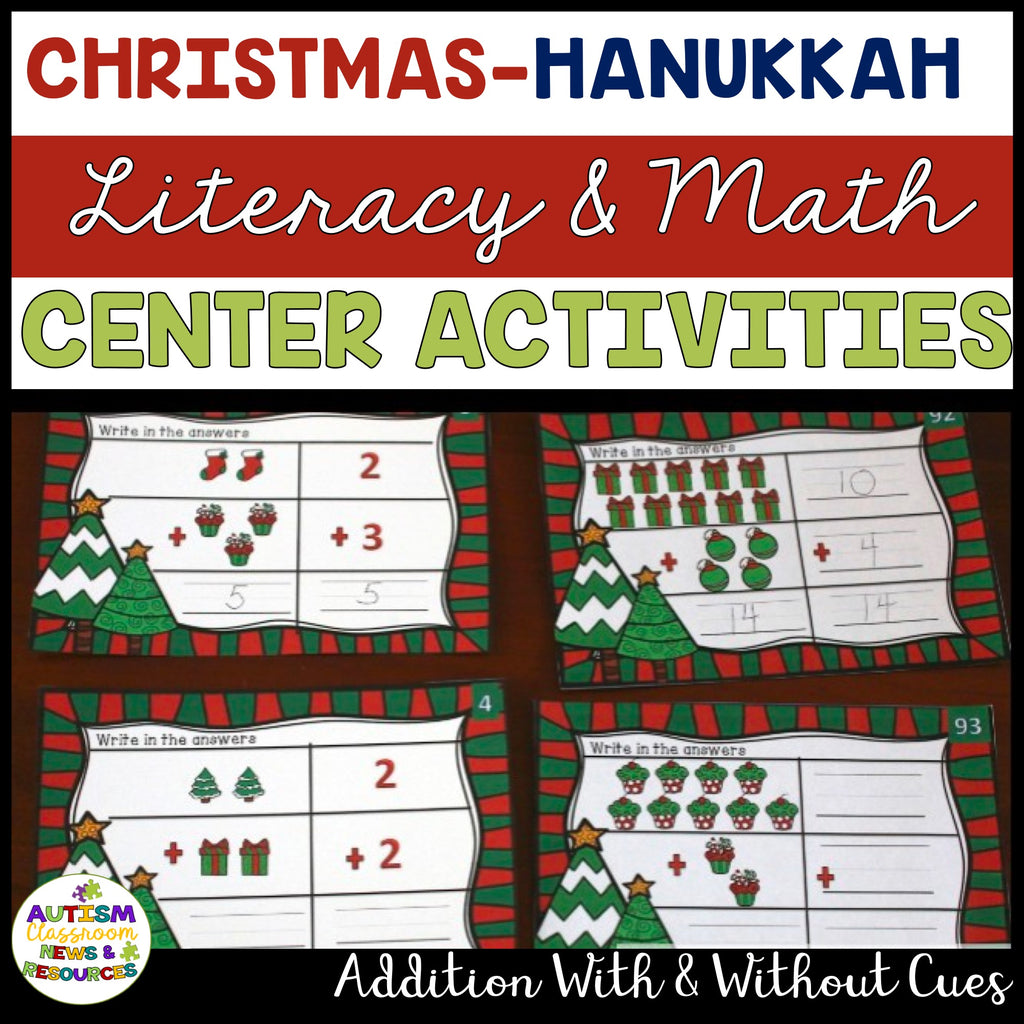 Christmas - Hanukkah Literacy and Math Centers for Young Learners and Special Education - Autism Classroom Resources