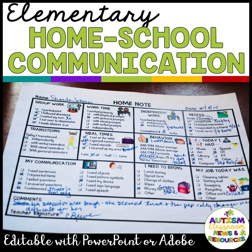 Home-School Communication Notes: Editable Included: Elementary Version - Autism Classroom Resources