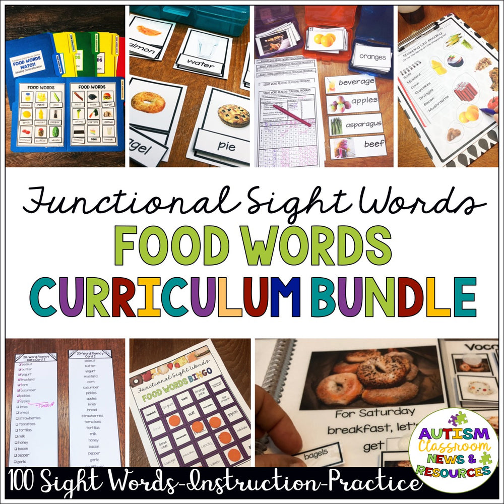 Reading Functional Sight Words Curriculum Bundle for Special Ed: Food Words