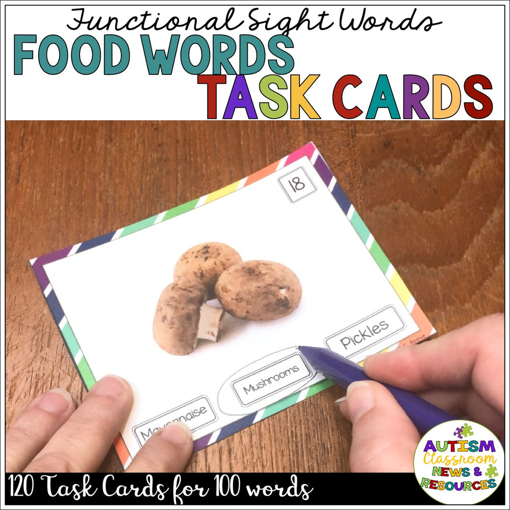 Functional Sight Word Reading Task Cards: Food Words for Life Skills