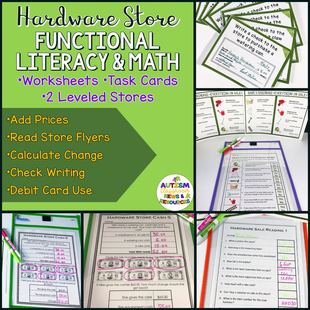 Hardware Shopping: Functional Literacy and Math Skills (Special Education) - Autism Classroom Resources