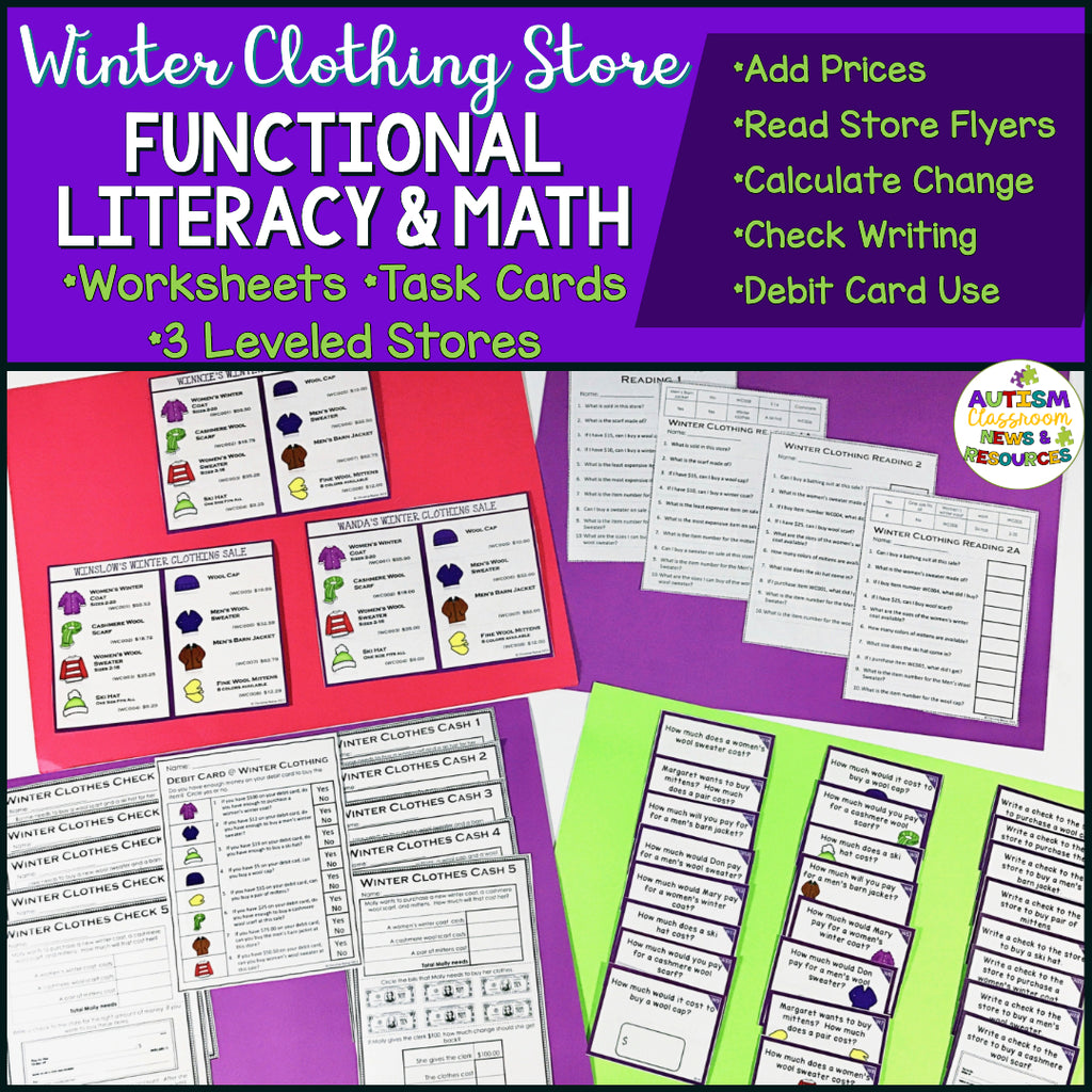 Winter Clothes Shopping: Functional Literacy and Math Skills (Special Education) - Autism Classroom Resources