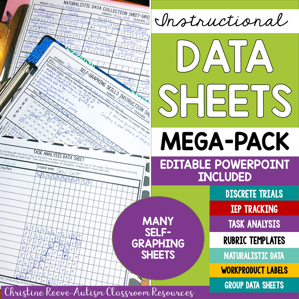 EDITABLE Data Sheets MegaPack for Progress Monitoring for Special Education - Autism Classroom Resources