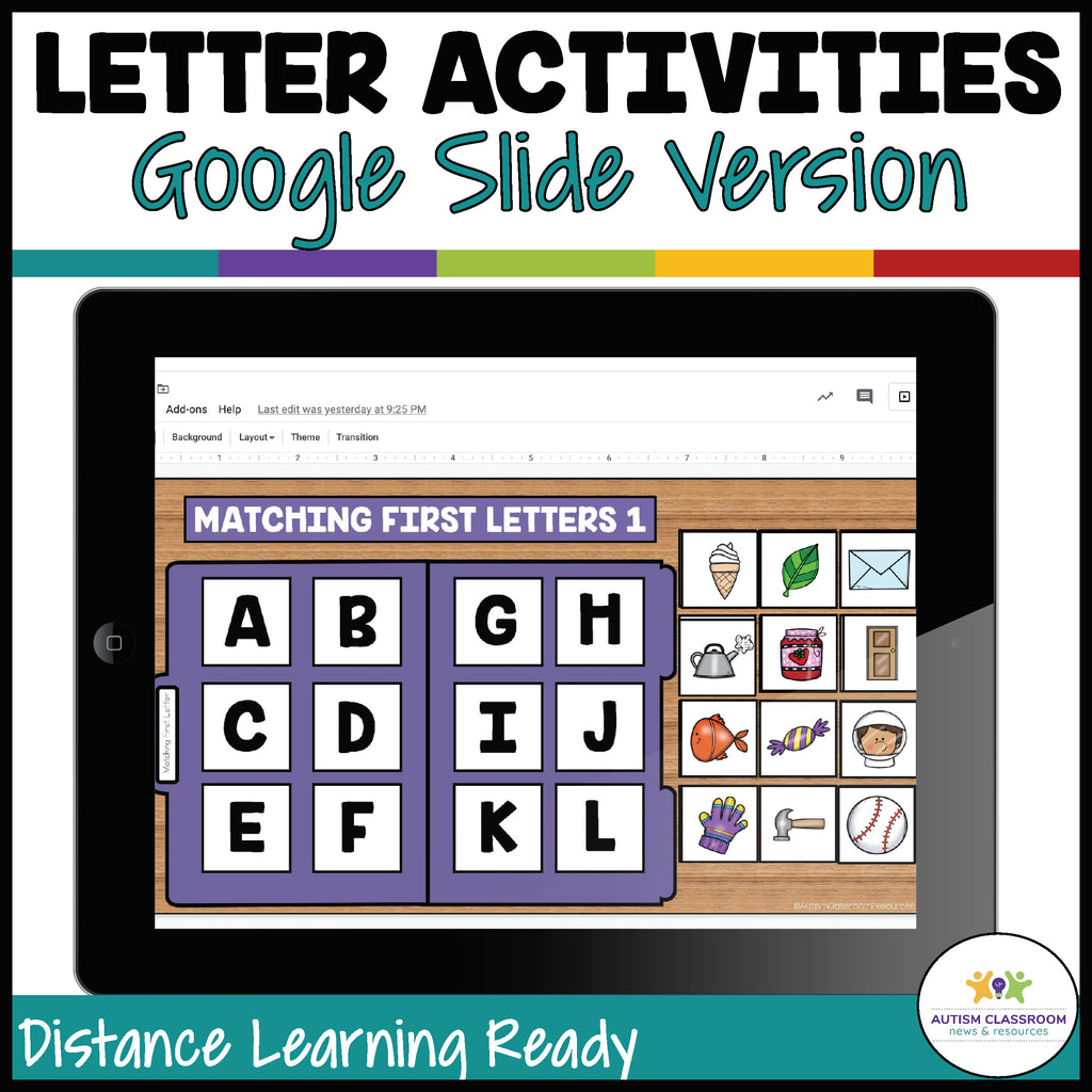 DIGITAL File Folders for Basic Alphabet Skills for Google Apps in Special Education and Early Childhood - Autism Classroom Resources