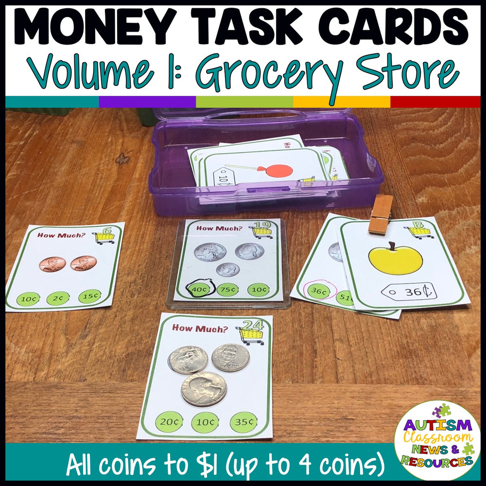 Grocery-Themed Money Task Cards Vol. 1 Including Coins to $1 for Life Skills Classes - Autism Classroom Resources