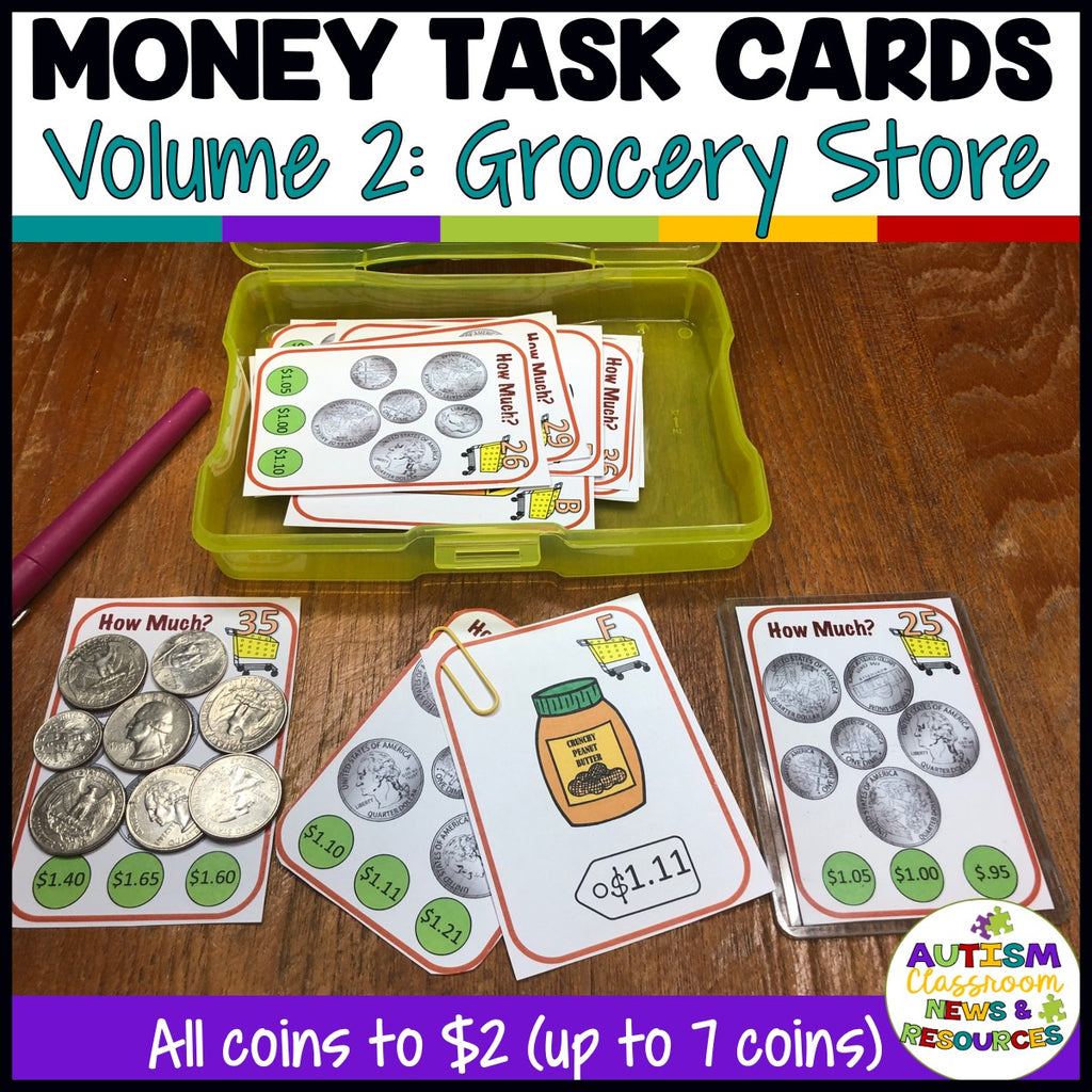Grocery-Themed Money Task Cards Vol. 2 With Coins to $2 for Life Skills Classes - Autism Classroom Resources