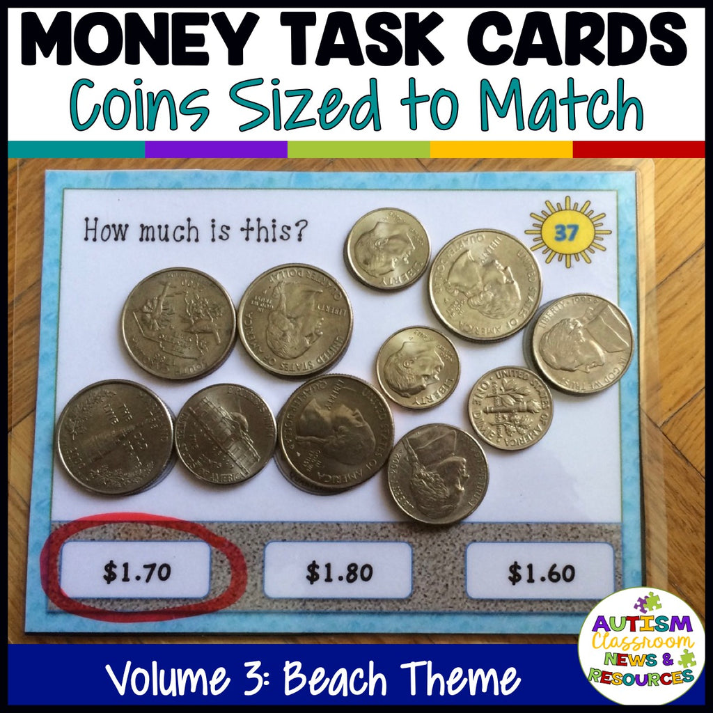 Beach-Themed Money Task Cards Vol. 3 Including Coins to $2 - Autism Classroom Resources